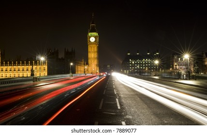 Night time shot of Westminster Bridge, London, England showing Big Ben and the Houses of Parliament