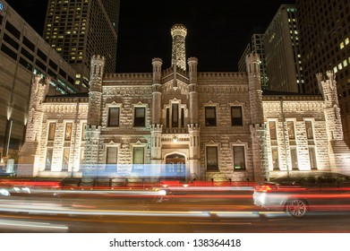 Night time view of the Chicago Avenue Pumping Station on Michigan Avenue in Chicago