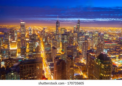 Night time view of downtown Chicago