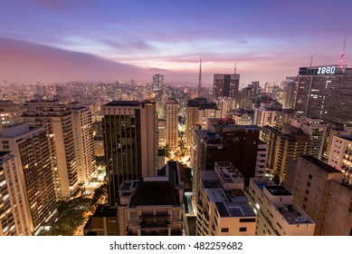 Night Time View of Sao Paulo City in Brazil