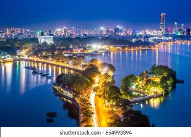 Night time view of West Lake, Hanoi, Vietnam