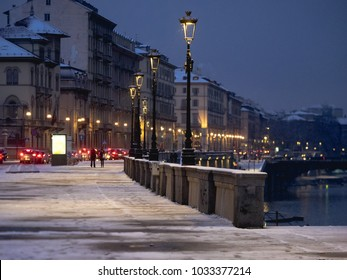 Night in Torino Italy winter and snow