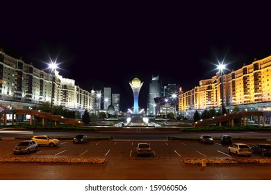 Night town square of Astana