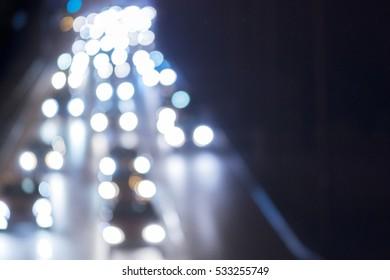 Night traffic, blurred