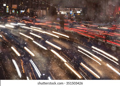 Night traffic car road blur light snow