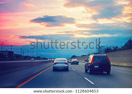 Night traffic Cars on