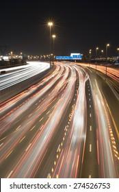Night traffic at Dubai