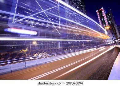 Night Traffic Hong Kong