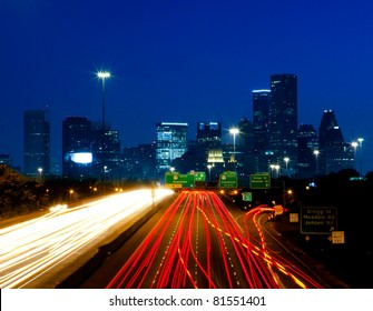 Night traffic into downtown Houston, Texas