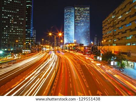 Night traffic jam HDR