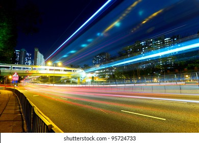 night traffic light trail in city