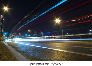 Night traffic light trails