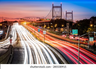 Night traffic an light trails on I-278 near RFK (aka Triboro) bridge in New York City