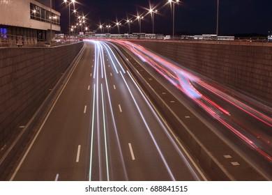 Night traffic lights in St. Petersburg