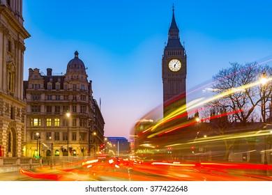 Night traffic near Big Ben in London