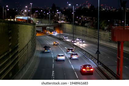 Night traffic on the A12 in East London.