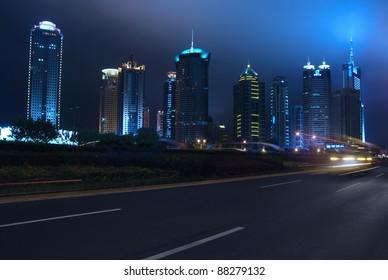 night traffic on the street of Shanghai, China