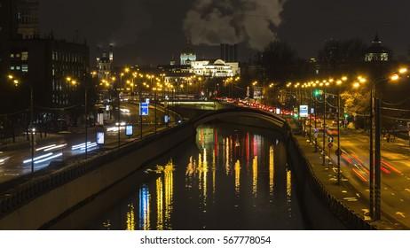 night traffic on urban thoroughfare