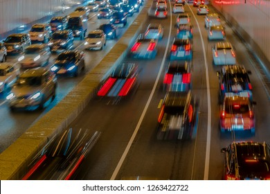 night traffic on the urban thoroughfare,overpass,   and road junction
