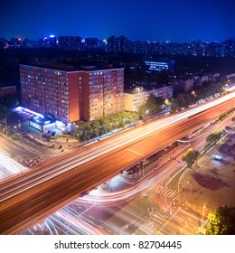 night traffic on the viaduct in beijing,China