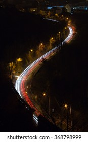 night traffic serpent from above