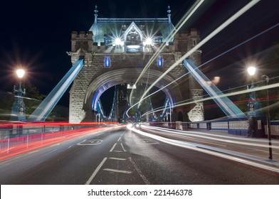 Night traffic through Tower bridge