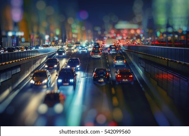 night traffic in the town