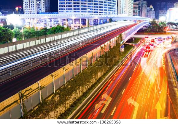 Night traffic trail lights
