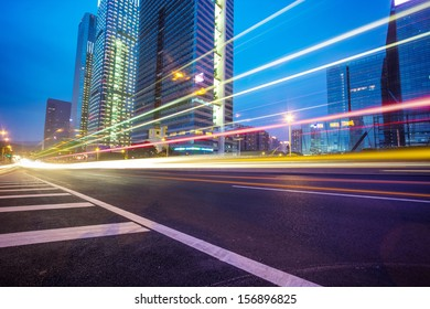 Night traffic trails on the  cityscape background in shanghai,China