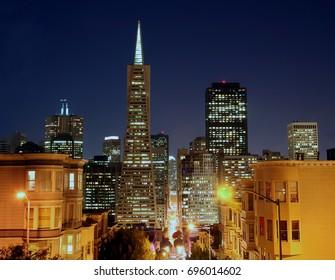 Night at Trans-America Building in San Francisco