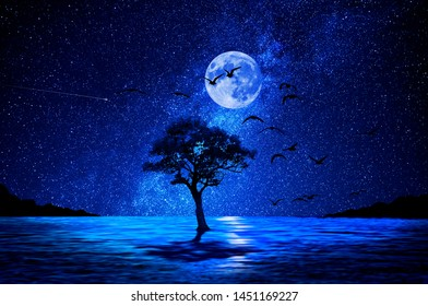 Night tree on lake and moon in the background