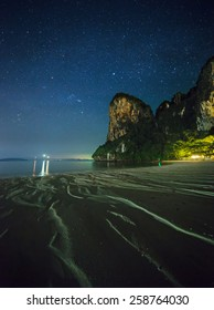Night tropical landscape with beautiful blue sky and stars. Thailand