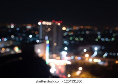Night twilight blurred bokeh city.abstact background