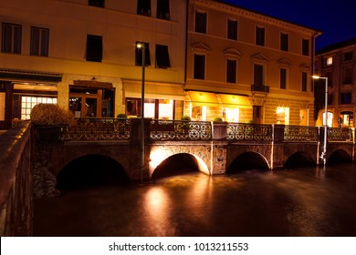 night urban scene with bridge in Treviso city from Italy
