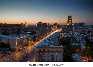 Night urban scene of old Moscow architecture