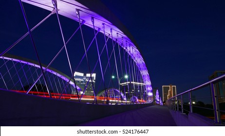 Night View of 7th Street Bridge in Fort Worth, Texas