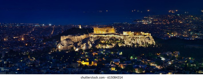 Night view of Acropolis from Mount Lycabettus, Athens