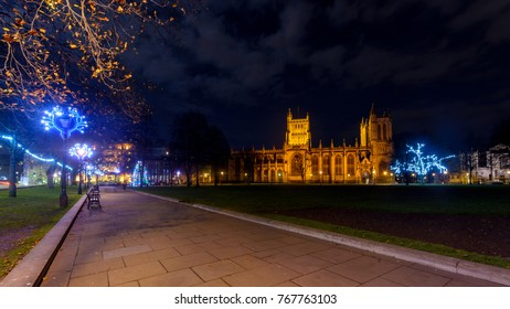 Night View Across Collage Green of Bristol Cathedral at Christmas, Long Exposure Night Photography