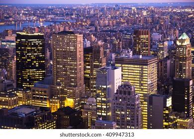 Night View across New York City from midtown Manhattan