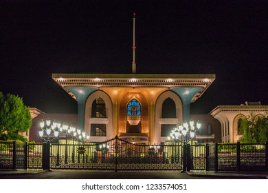 Night view of Al Alam palace (ceremonial palace of Sultan Qaboos) in Muscat, Oman
