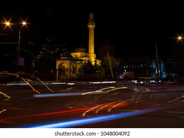 Night view of the Ali Pasha's Mosque or Ali Pasha Mosque in Sarajevo
