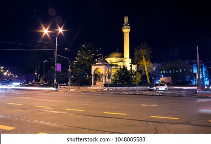 Night view of the Ali Pasha's Mosque or Ali Pasha Mosque in Sarajevo