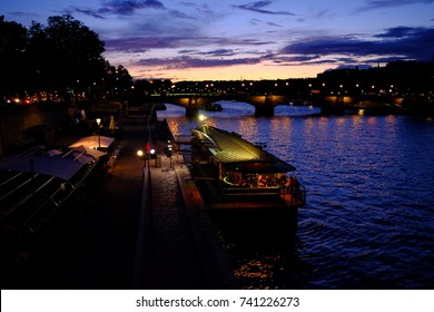 Night view along the seine river in paris, France