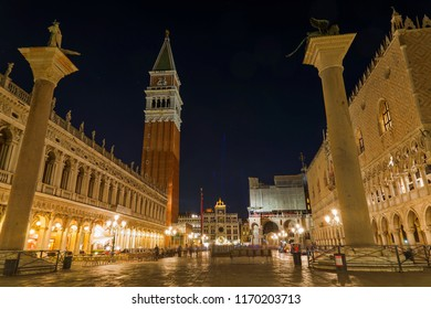 Night view among of Palazzo Ducale; Doge's Palace, Colonne di San Marco e San Teodoro, St Mark's Campanile; Campanile di San Marco and Saint Mark's Basilica; Basilica di San Marco in Venice, Italy.
