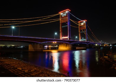Night View of Ampera Bridge in Palembang, South Sumatra, Indonesia