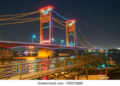 Night View of Ampera Bridge in Palembang, South Sumatra, Indonesia