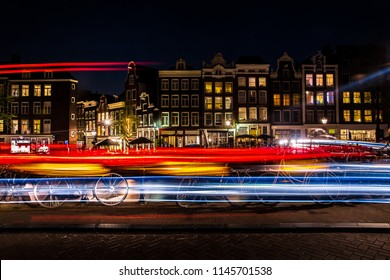 Night view of Amsterdam city, Netherlands