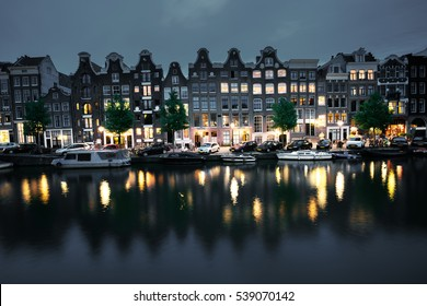 night view of Amsterdam, Holland