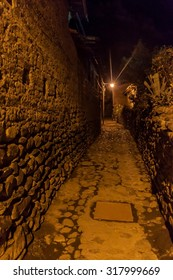 Night view of ancient streets of Ollantaytambo, Sacred Valley of Incas, Peru
