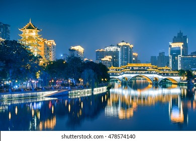 Night view of Anshun Bridge  in Chengdu, Sichuan, China